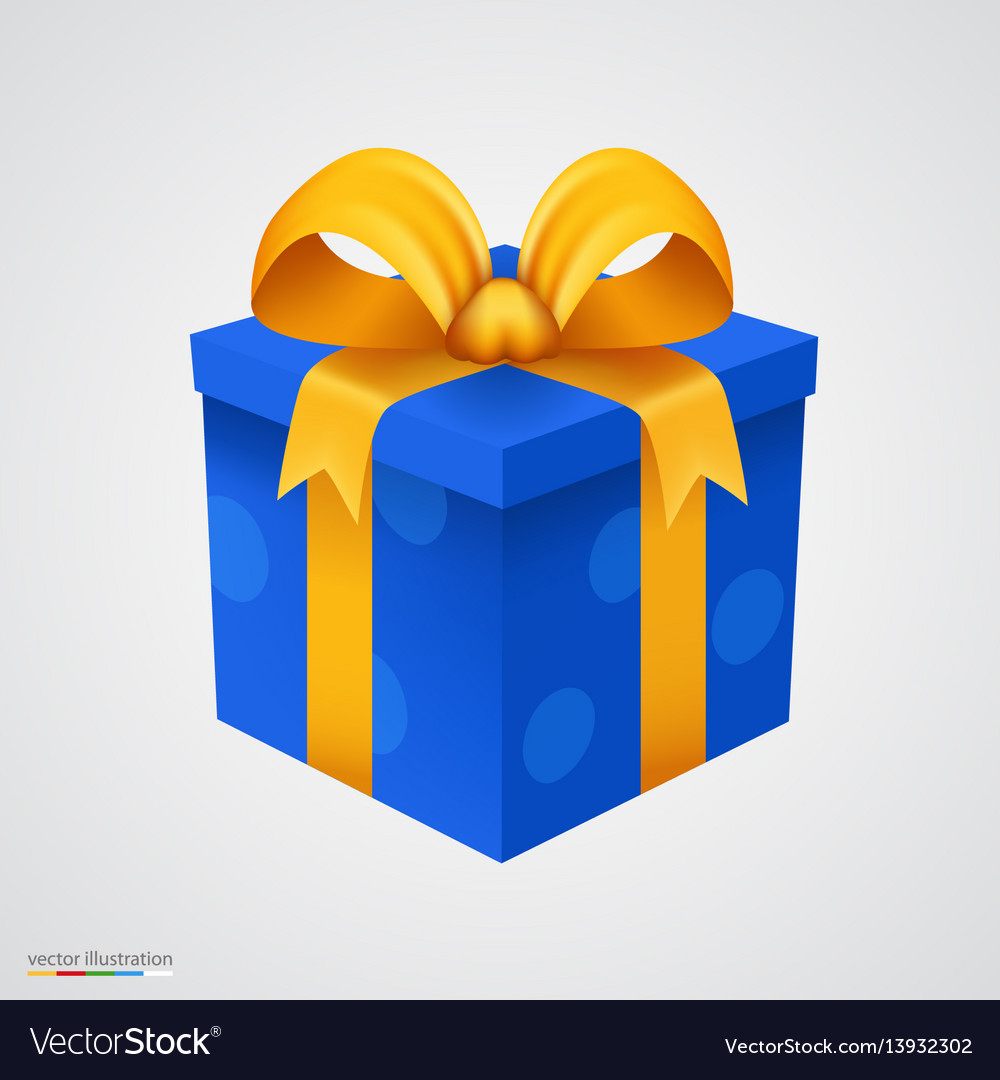 Present blue box with golden ribbon