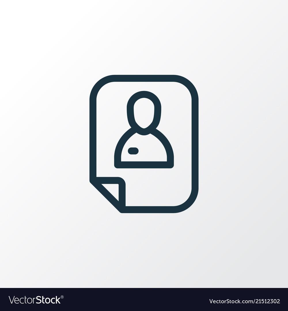 Resume Icon Line Symbol Premium Quality Isolated Vector Image