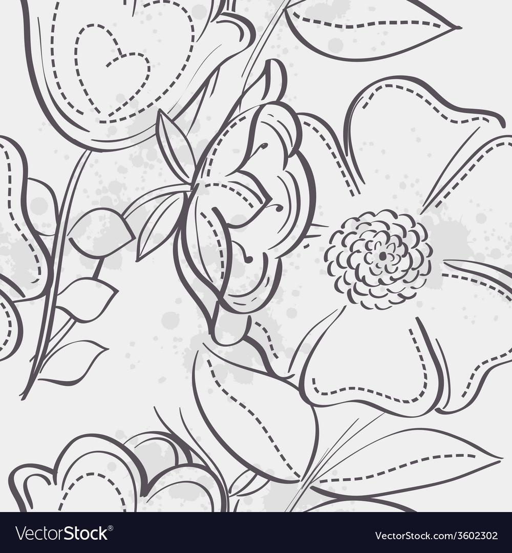 Seamless texture meadow flowers black contour