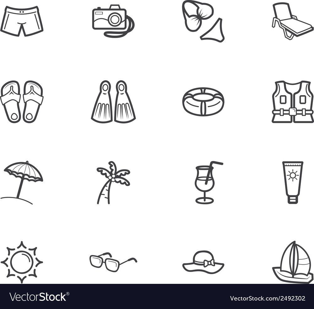Summer travel element black icon set on white bg