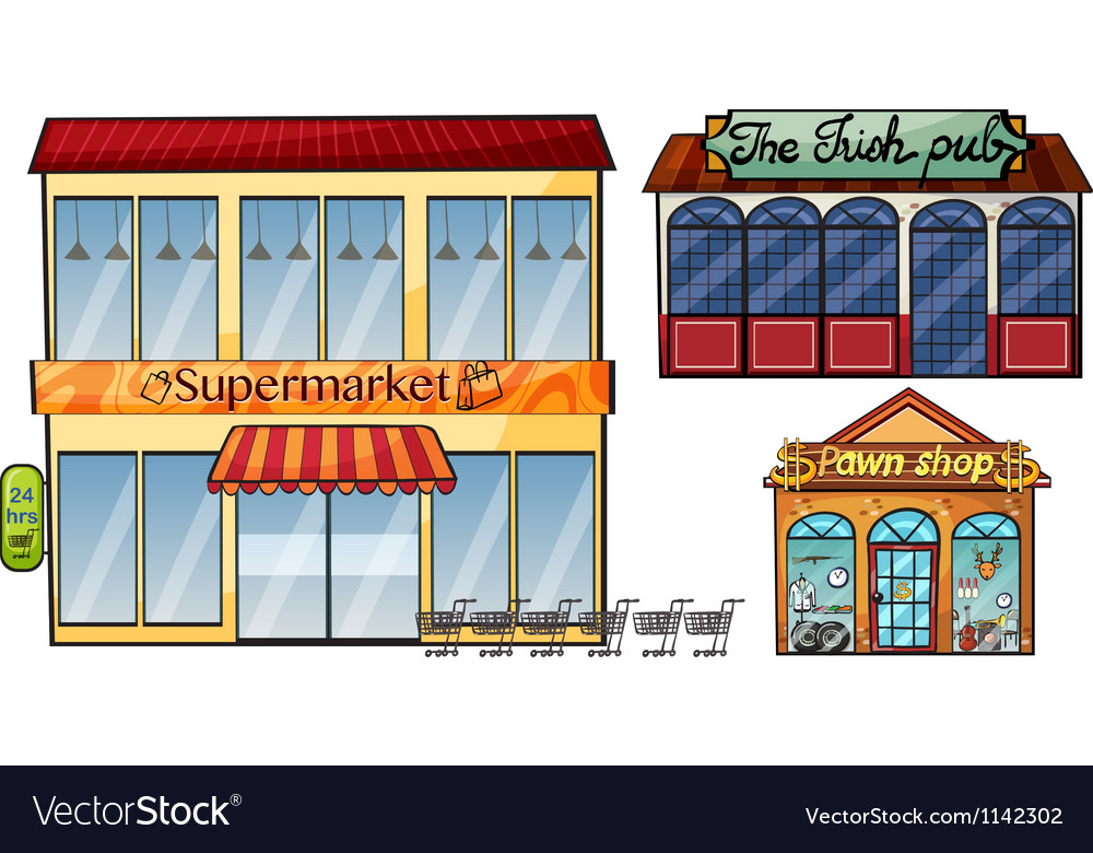 Supermarket pub and pawnshop vector image