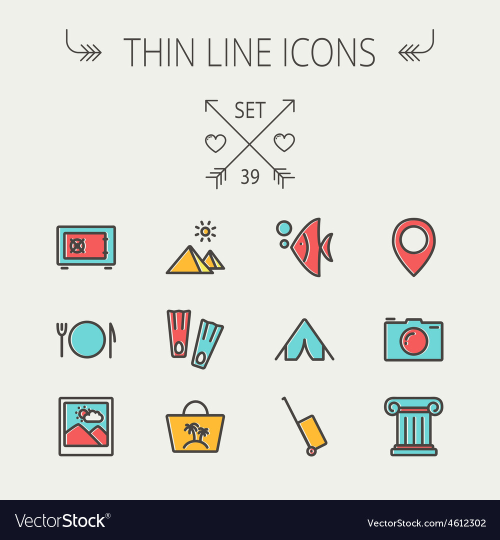 Travel thin line icon set