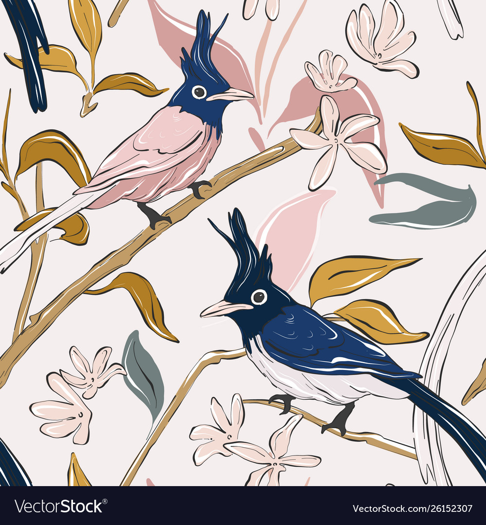 Botanical print with navy parrot and exotic