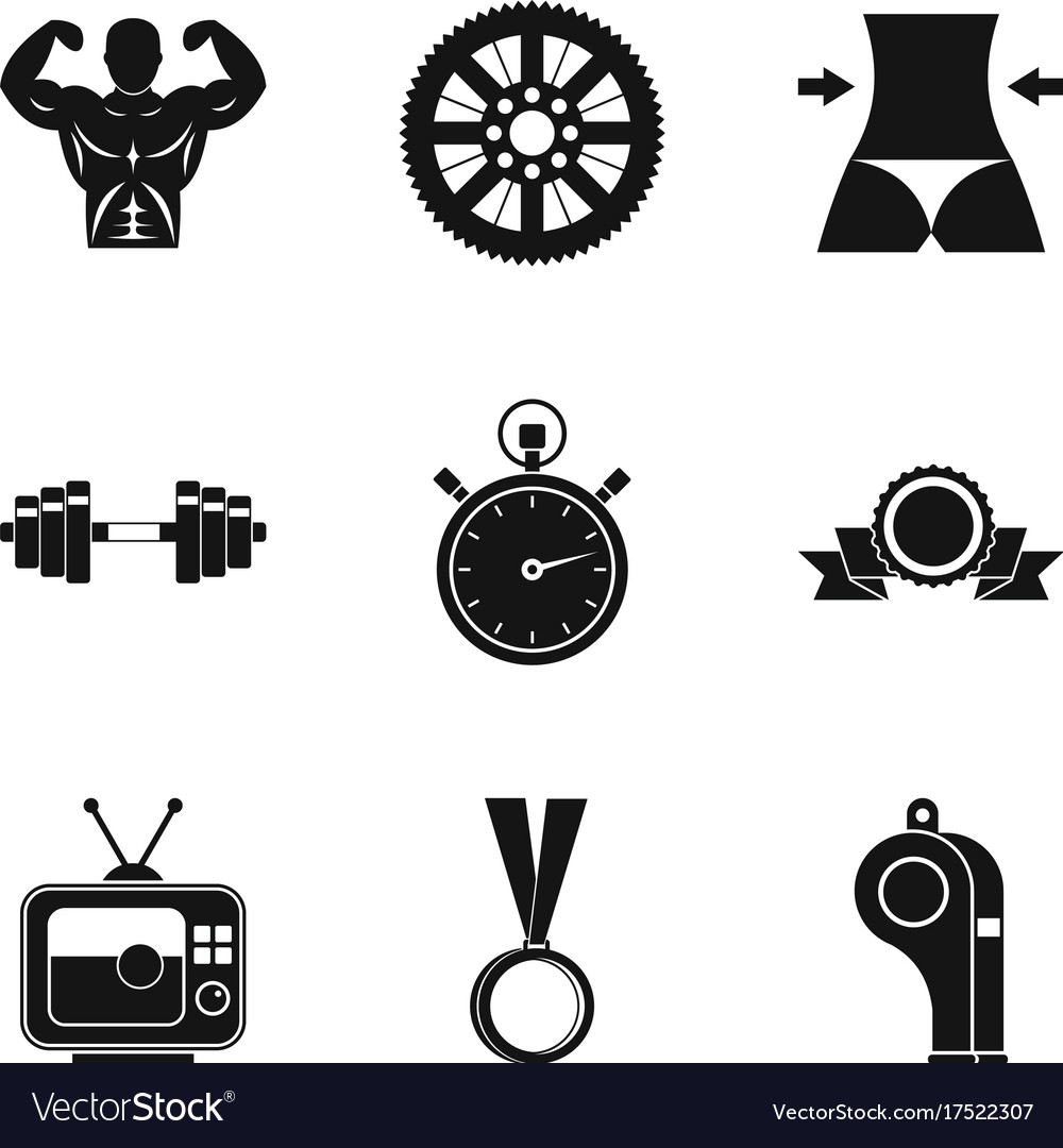 Boxing icons set simple style