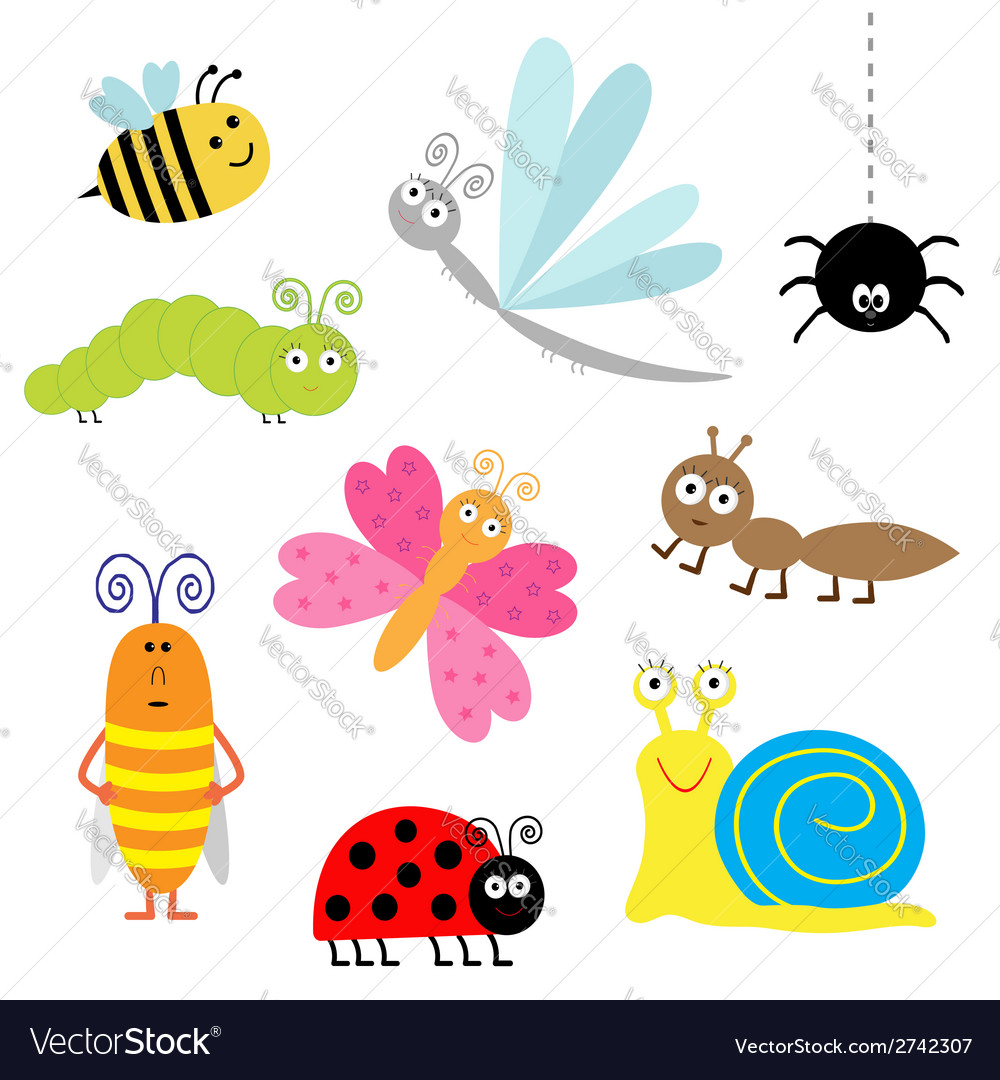 Cartoon insect set Ladybug dragonfly butterfly