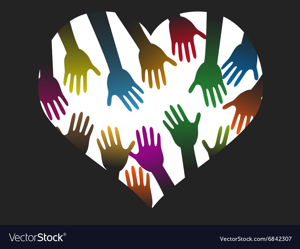 Diversity color hands of heart vector image