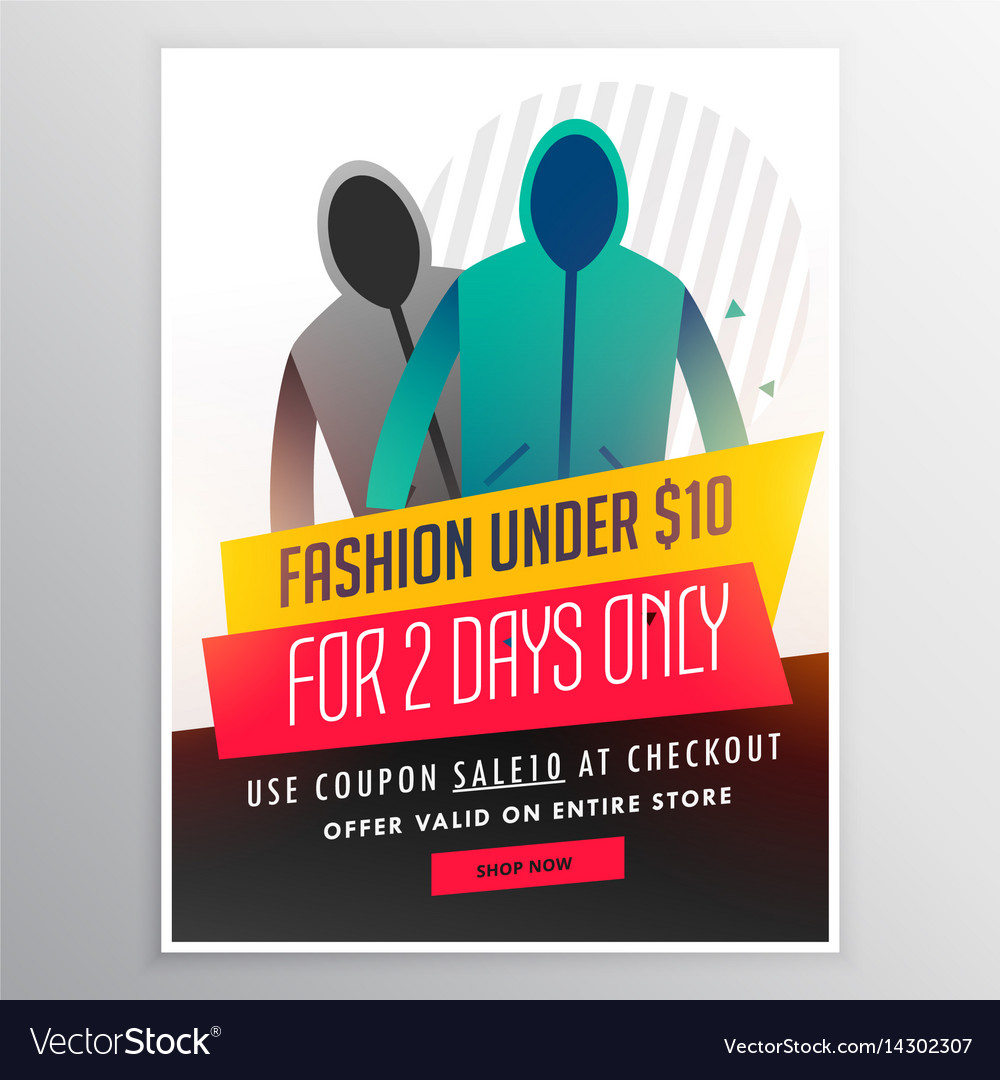 Fashion sale banner design with cloths and offer vector image