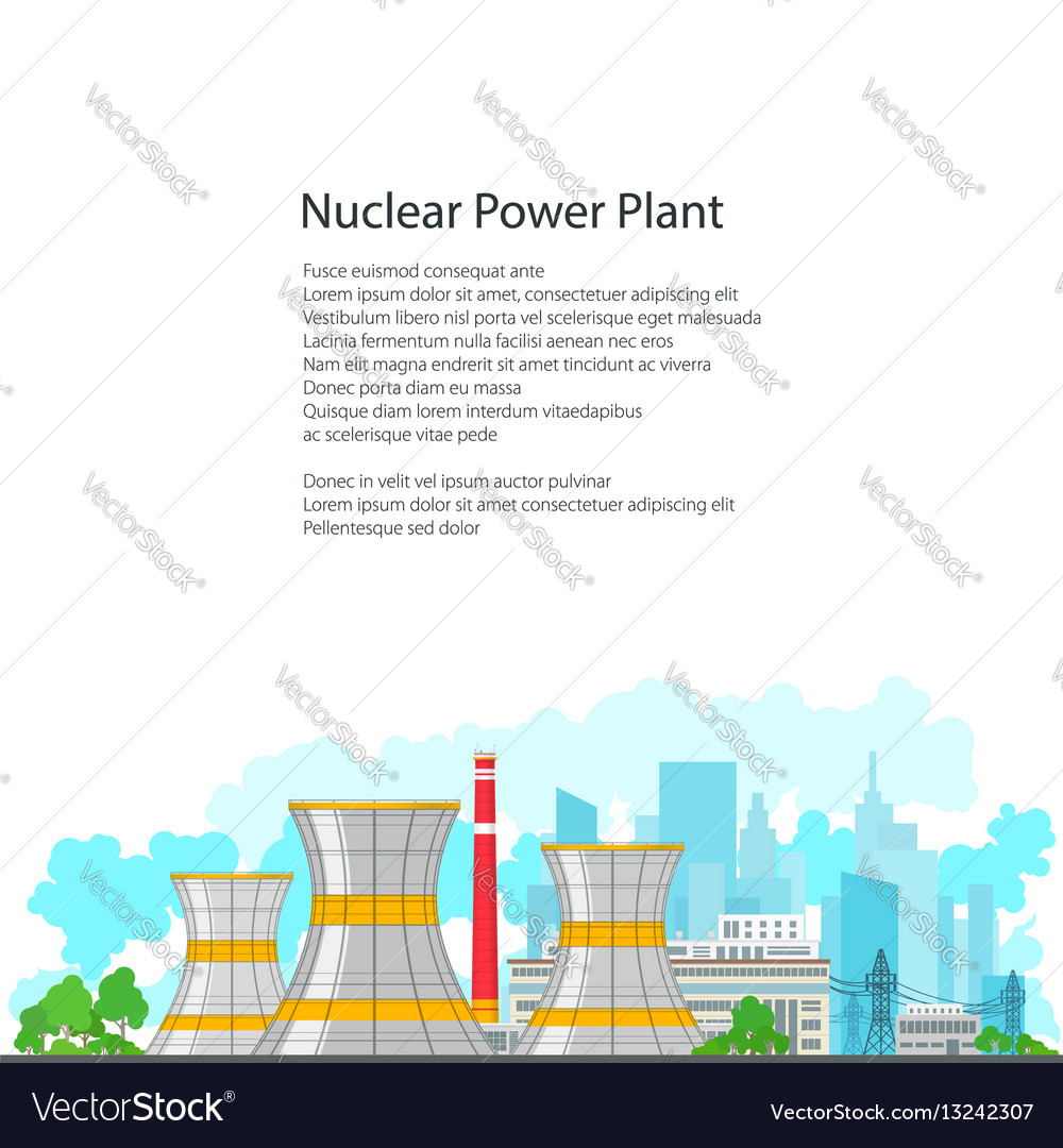 Flyer nuclear power plant on white background vector image ccuart Choice Image