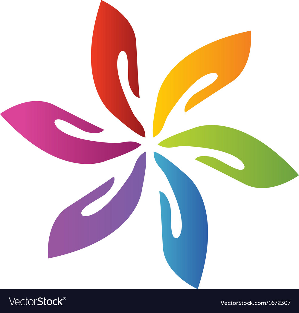 Hands teamwork flower logo vector image