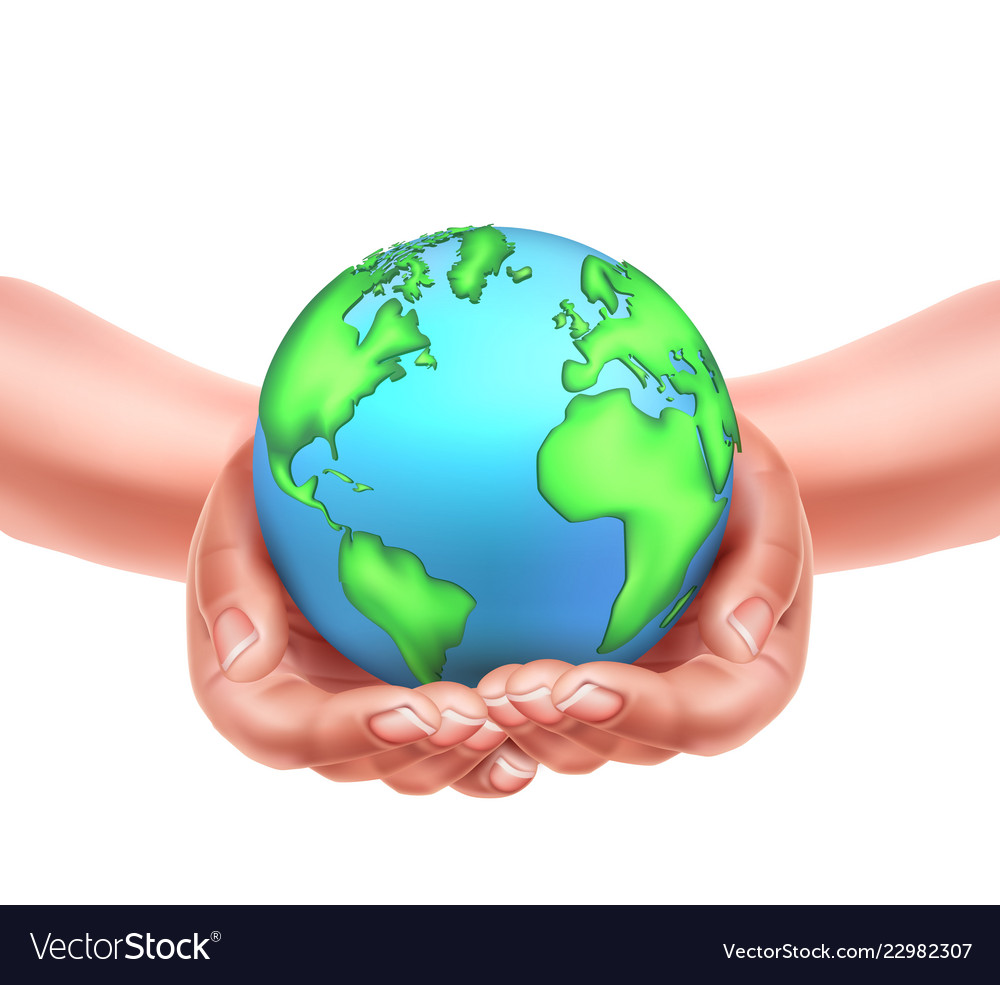 Realistic hands holding earth planet eco