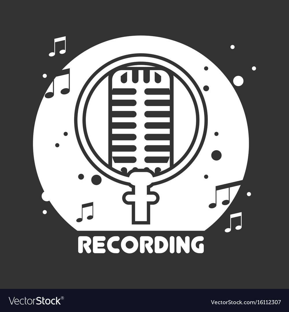 Recording studio black and white emblem with