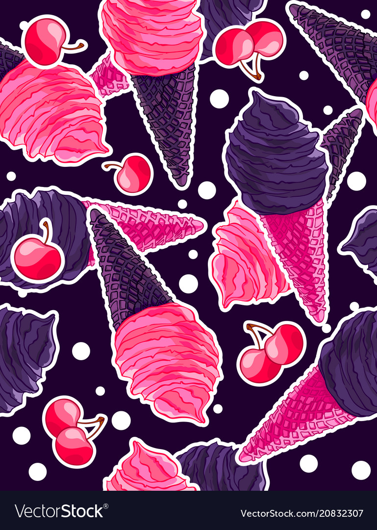 Seamless sweet pattern with berry and gothic black