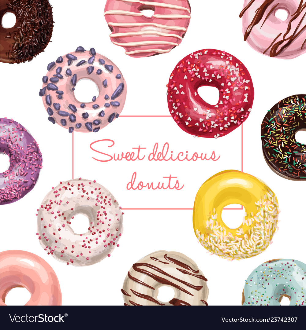 Sweet delicious hand drawn donut