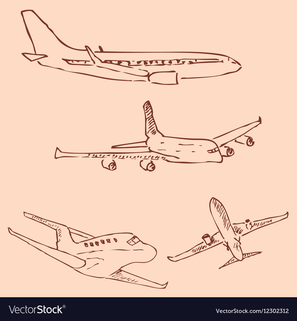 Aircraft Pencil sketch by hand Vintage colors