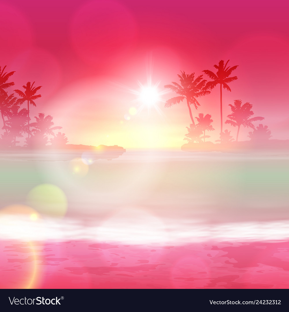 Background with sea and palm trees sunset time