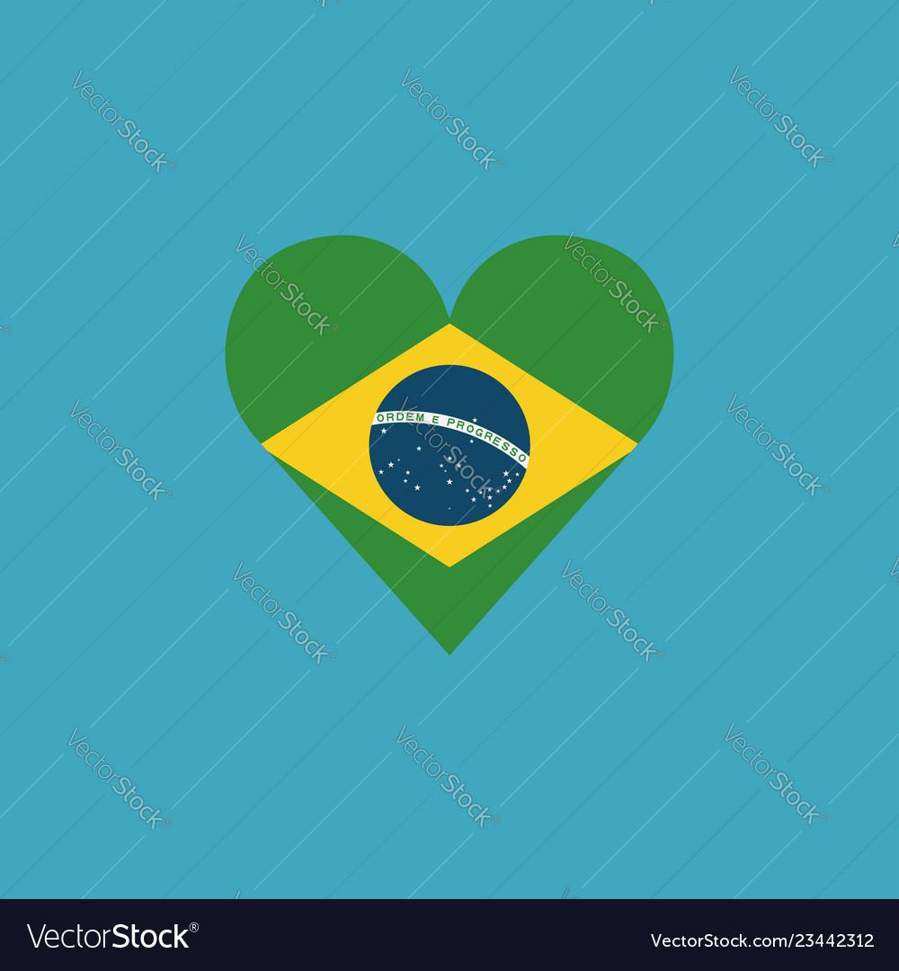Brazil flag icon in a heart shape in flat design
