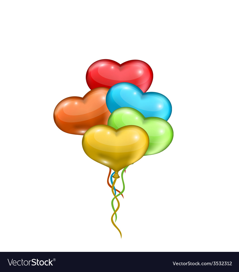 Bunch colorful balloons in the shape of hearts