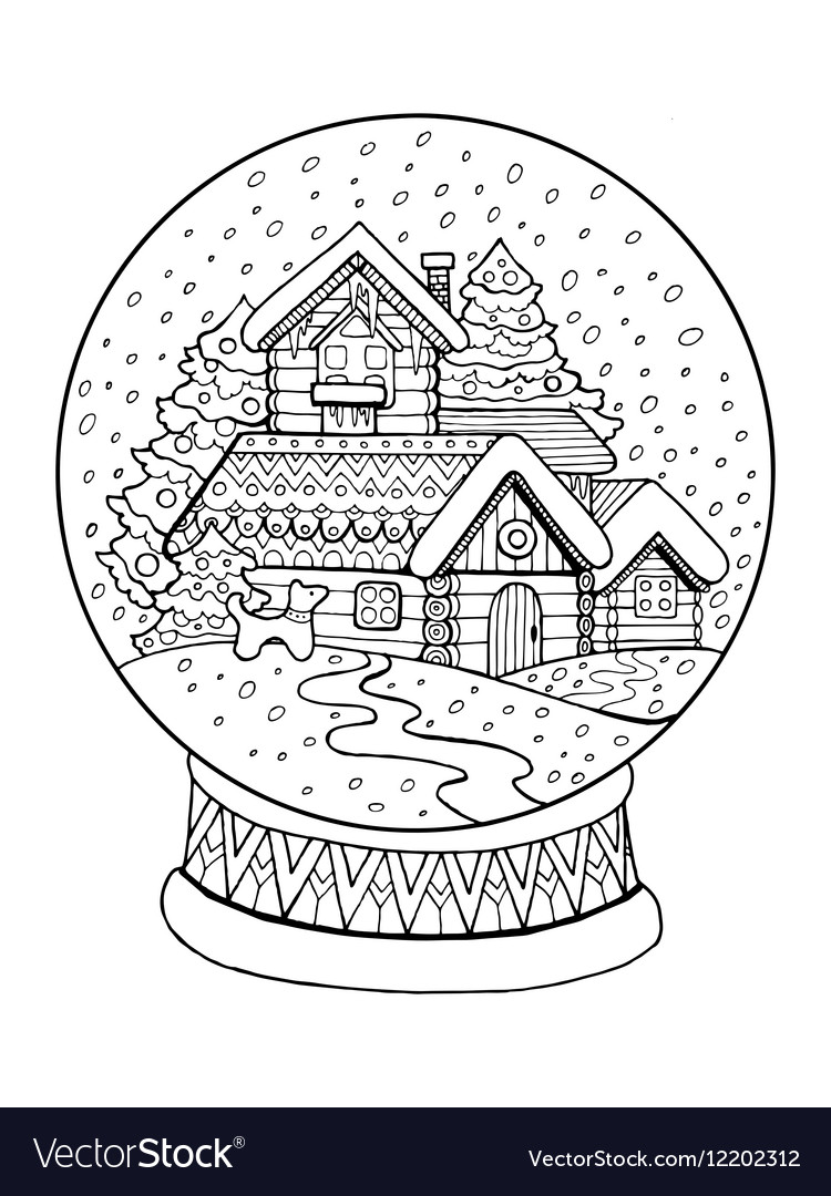 Christmas glass sphere coloring vector image