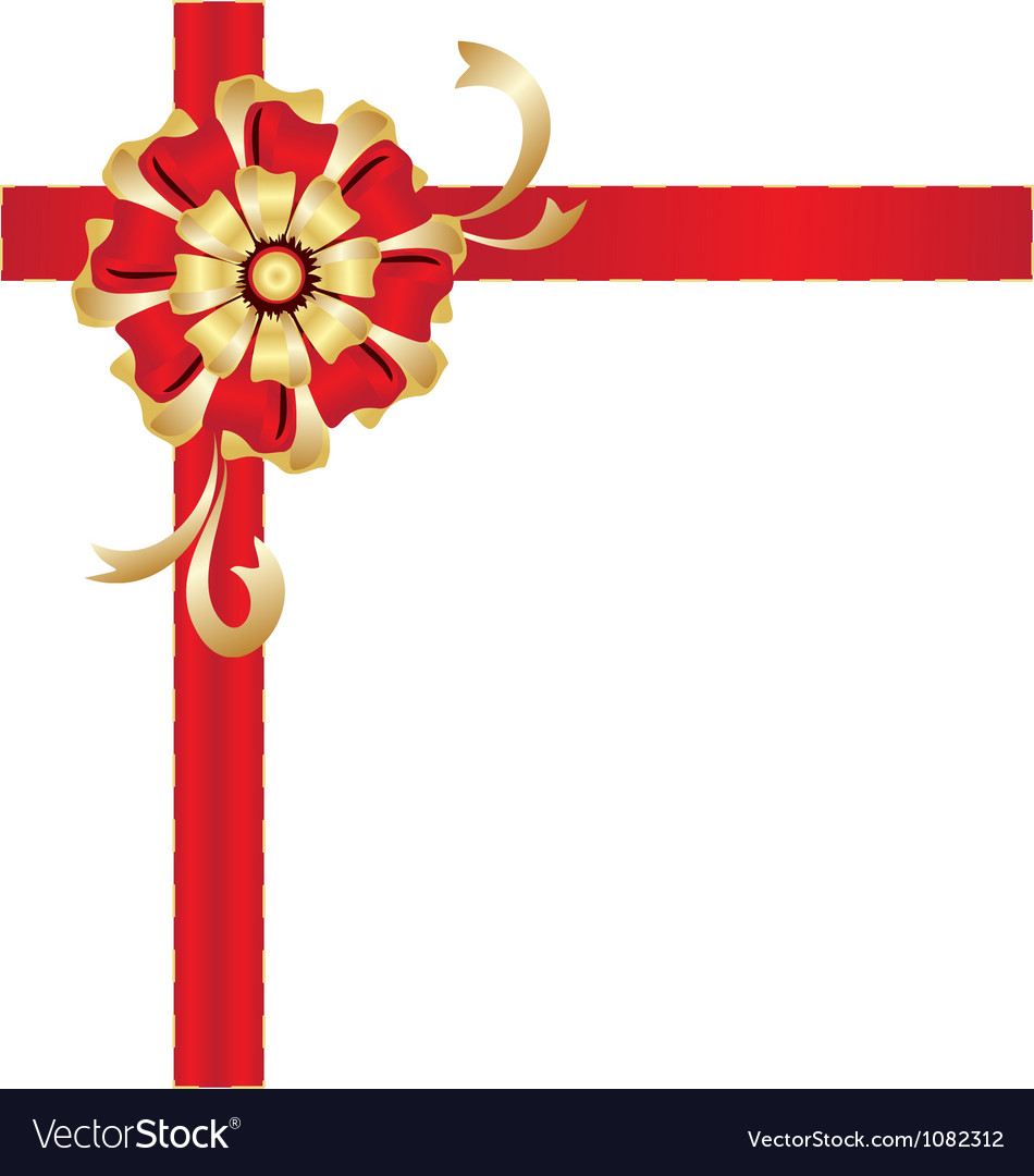 Christmas red and gold gift bow