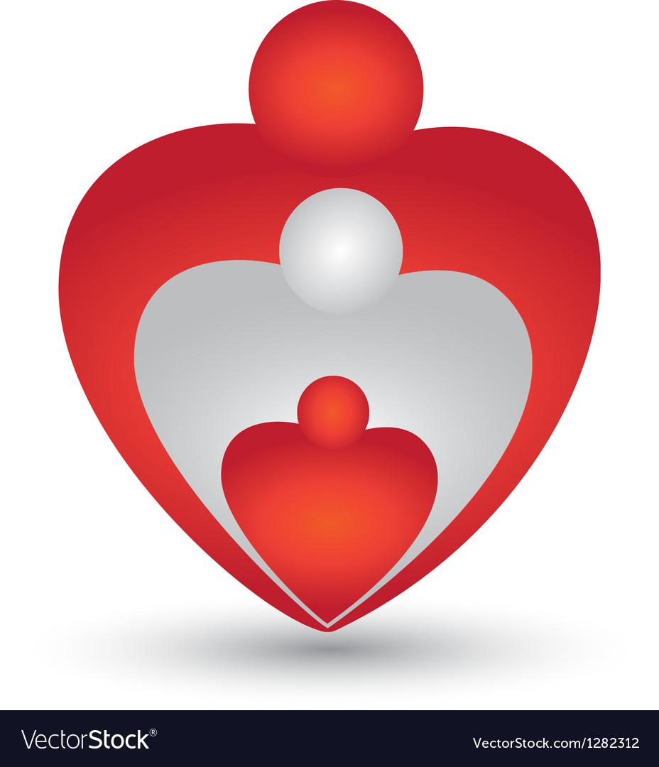 Family in a heart shape logo