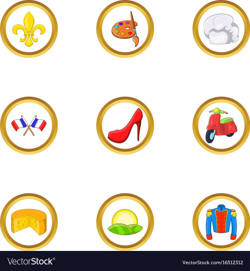 French fashion icon set cartoon style vector image