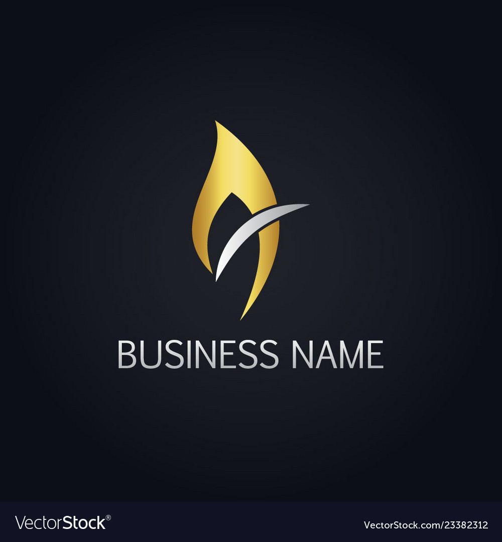 Gold flame fire logo