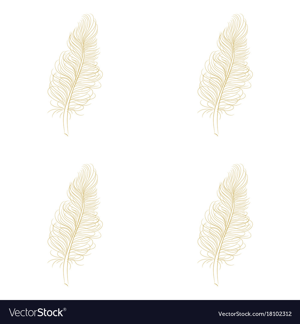 Golden feather decor seamless pattern
