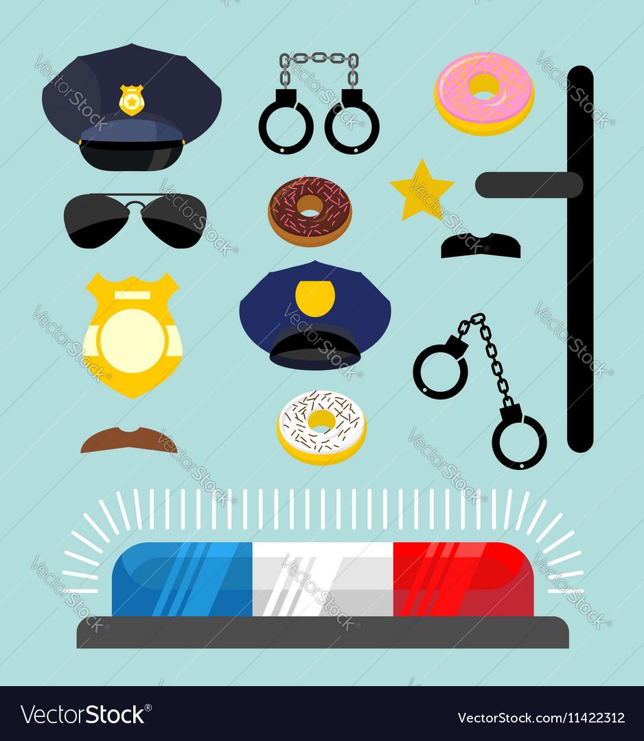 Police icons set Symbols policeman Cop accessories