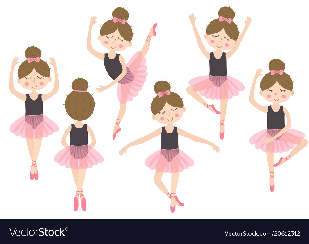 Set of isolated cute ballerina girl