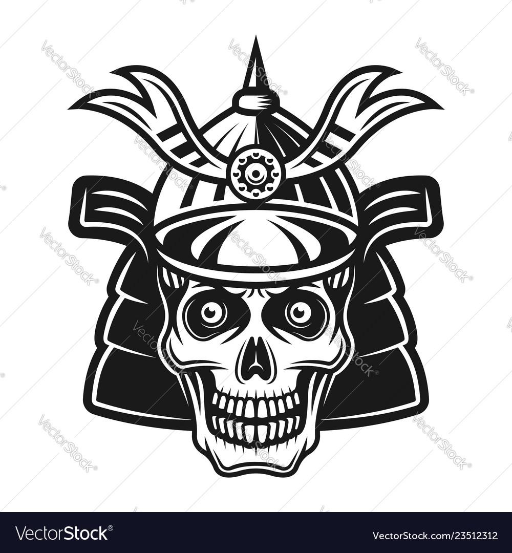 Skull in samurai helmet black