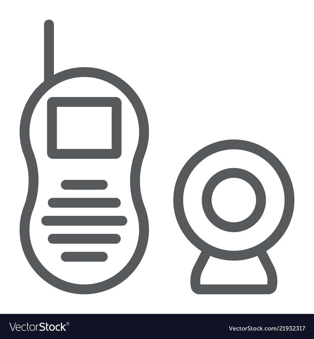 Baby monitor line icon child and equipment