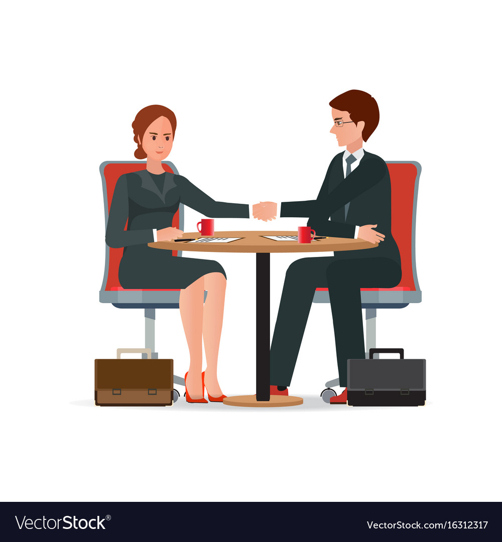 Businessman and business woman shaking hand over