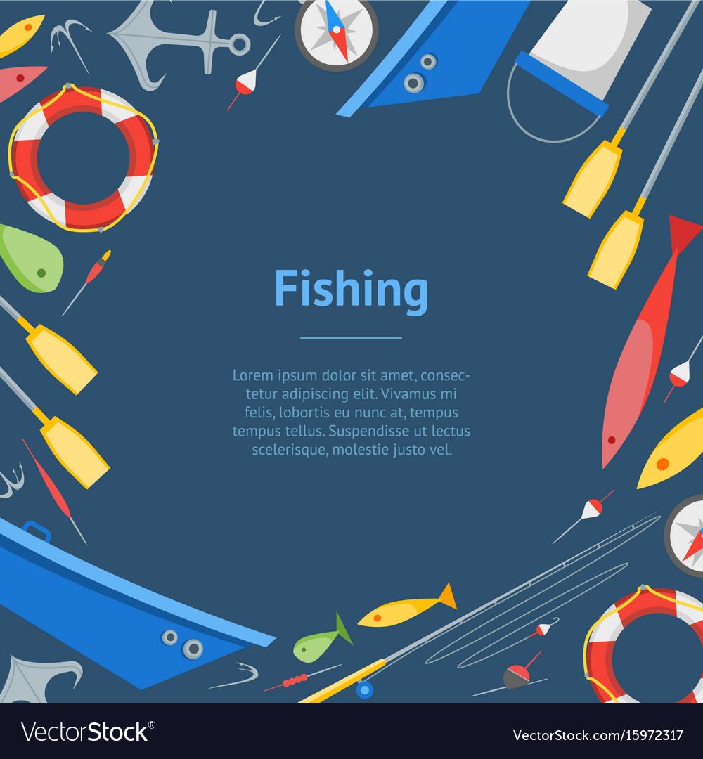 Cartoon fishing banner card