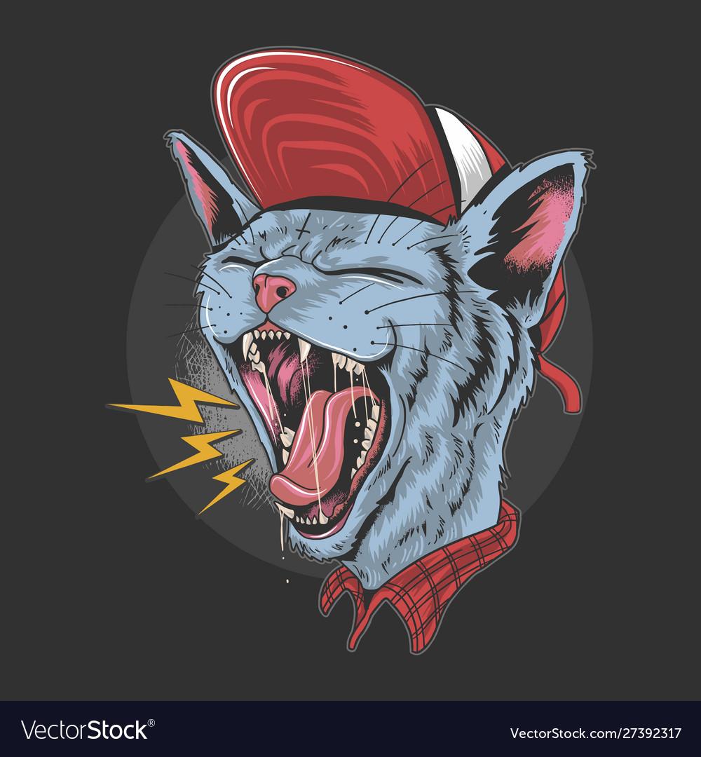 Cat kitty scream over rock n roll punker artwork v