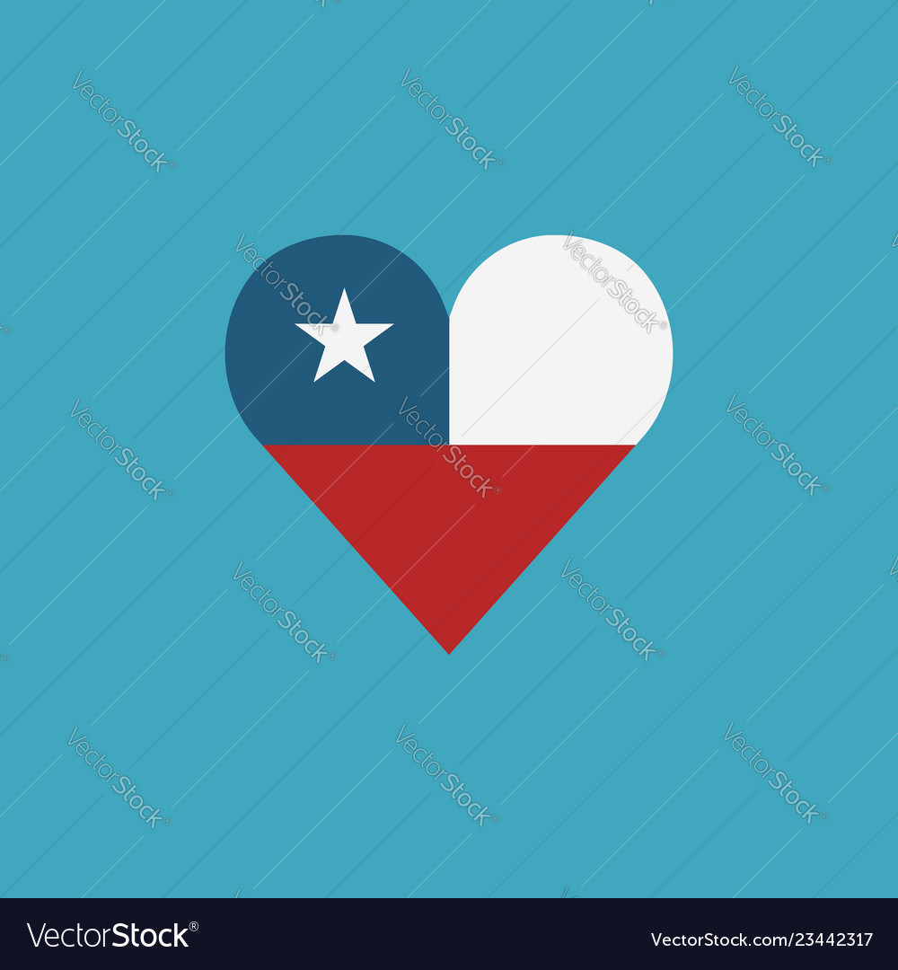 Chile flag icon in a heart shape in flat design