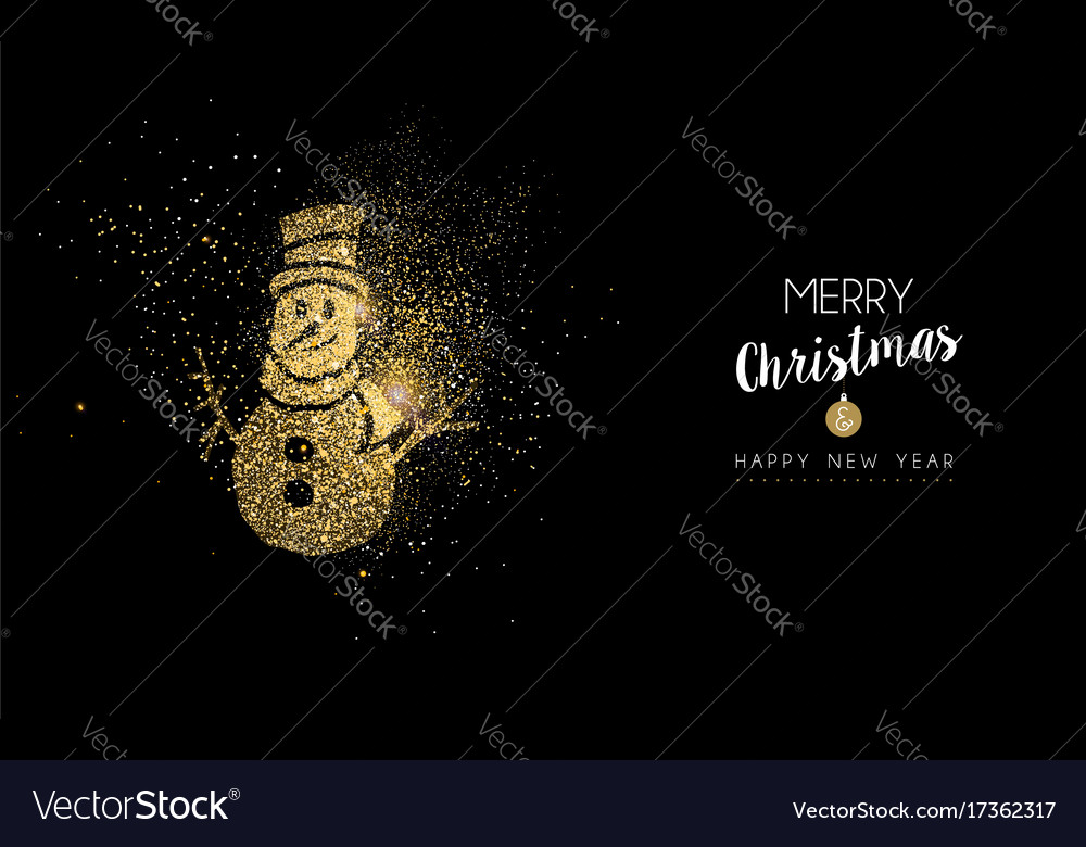 Christmas and new year gold glitter snowman card