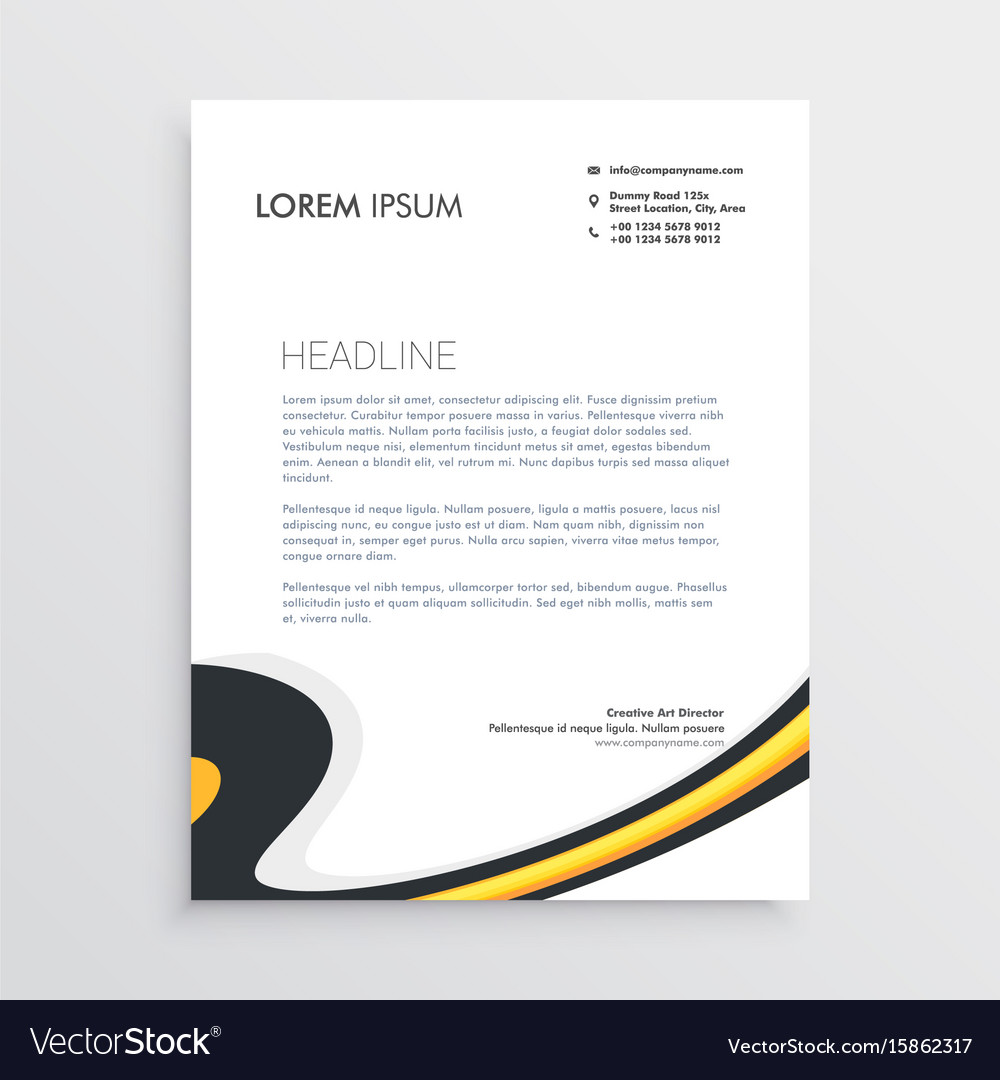 Clean modern business letterhead template design vector image