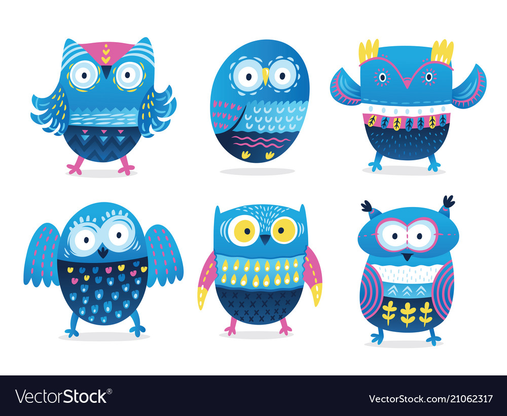 Funny owls collection in cartoon style