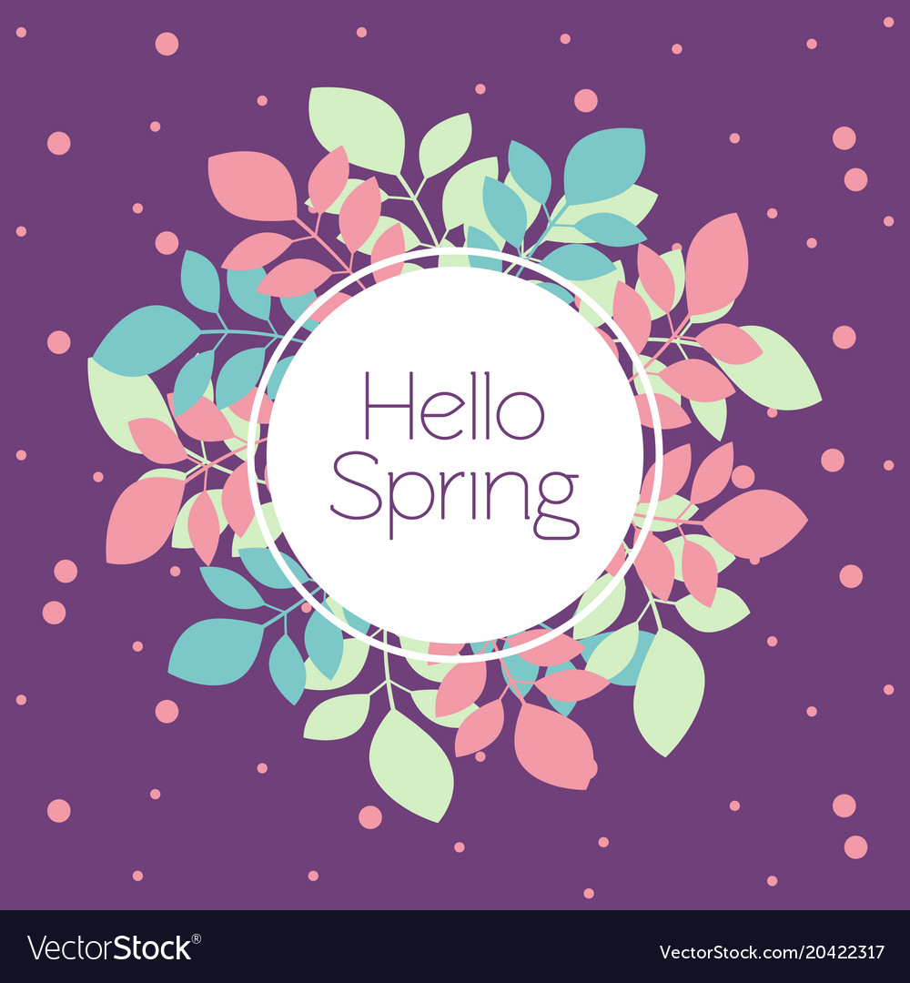 Greeting card banner hello spring in trendy