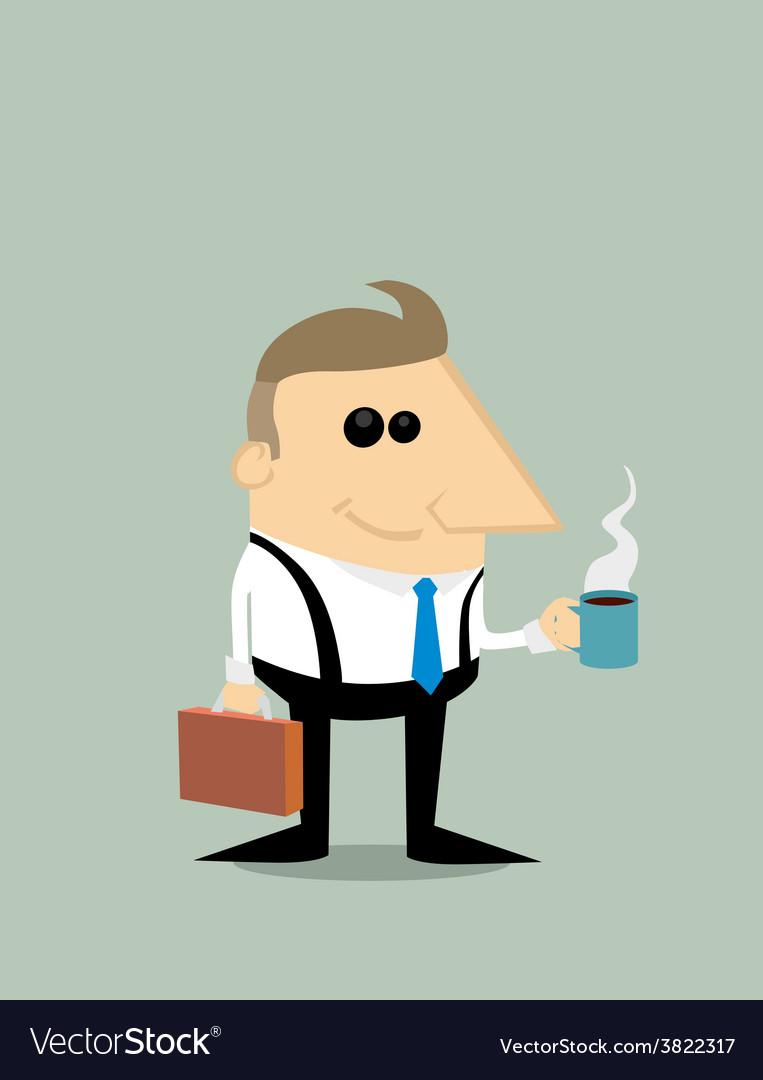 Happy Cartoon businessman with coffee