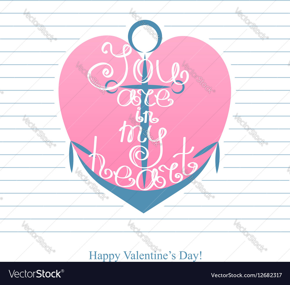 Happy Valentines day Anchor with inscription