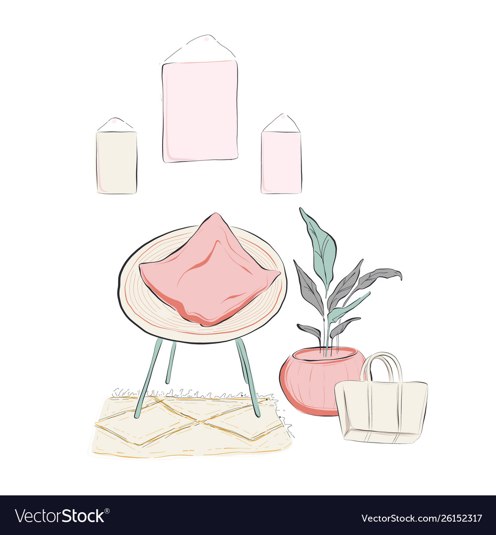 Living room sketch with armchair pillow plant