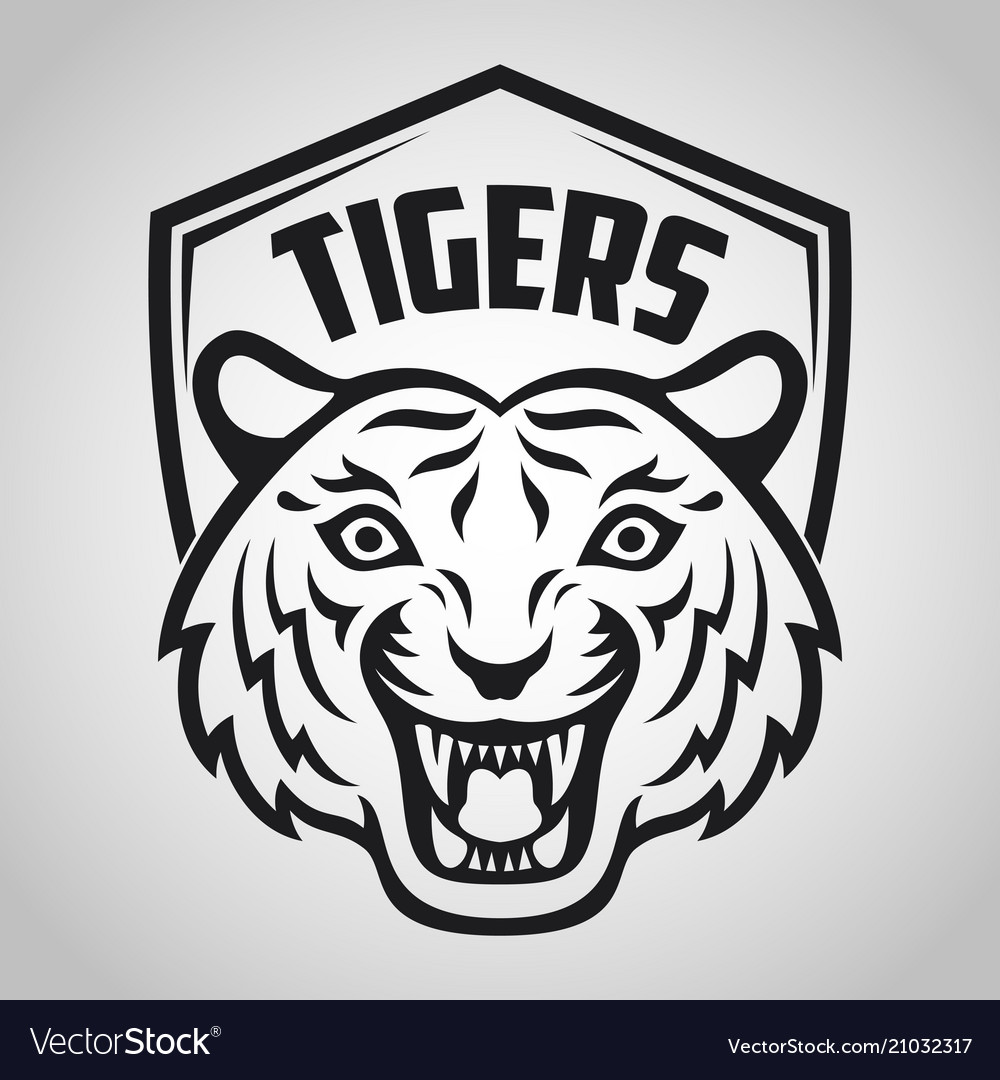 Mascot of black tigers head on shield background vector image