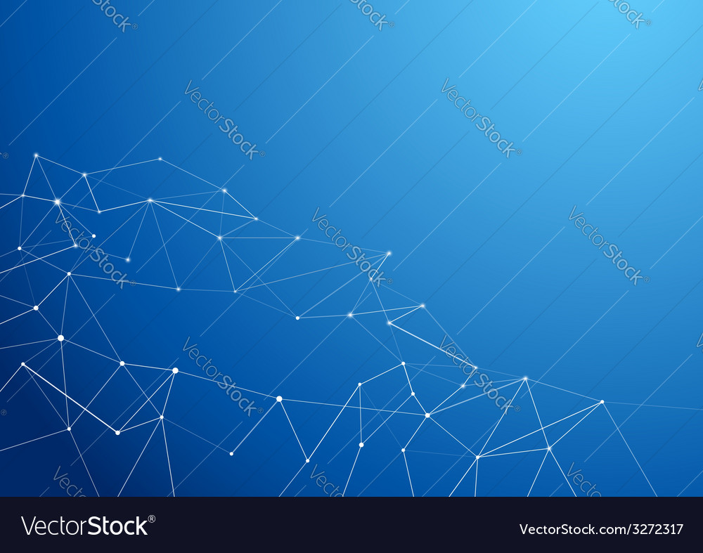 molecule atom connection abstract blue background vector image