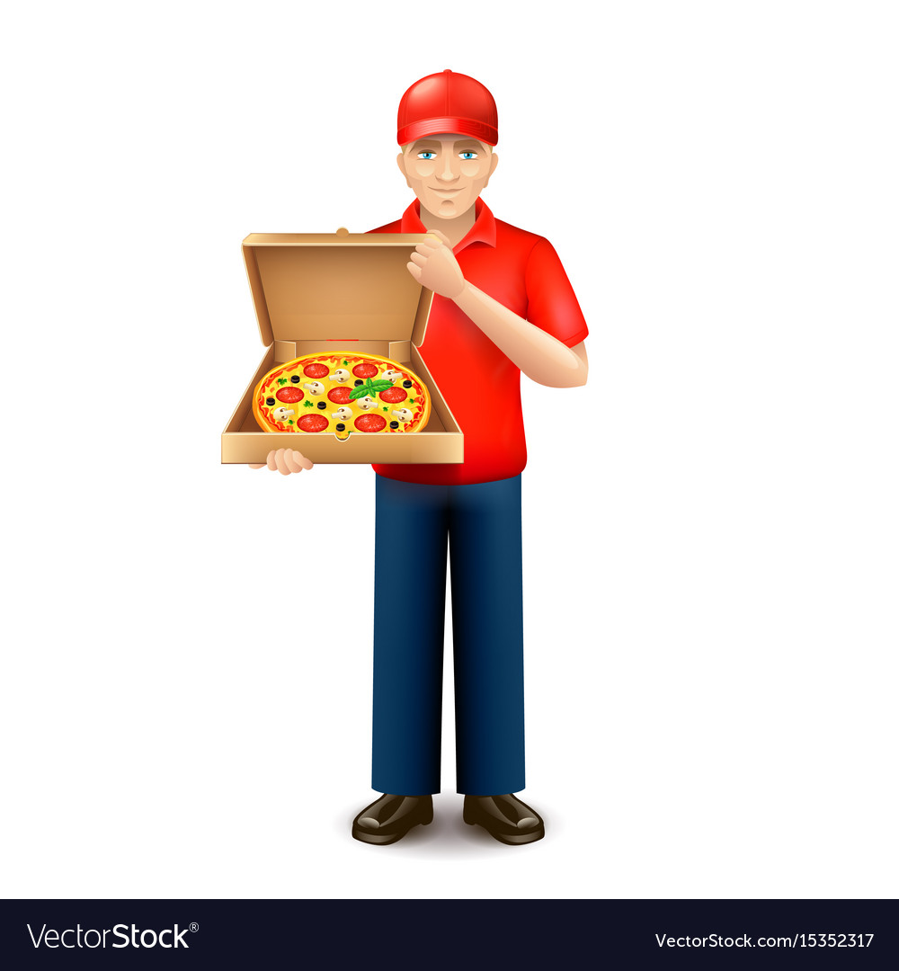 Pizza delivery man isolated on white