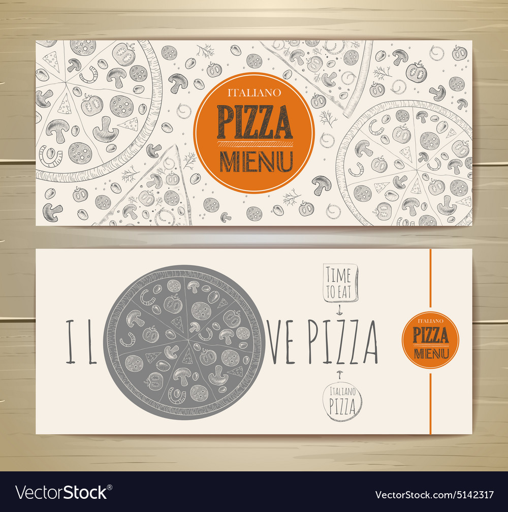 Set of banners with pizza Sketch