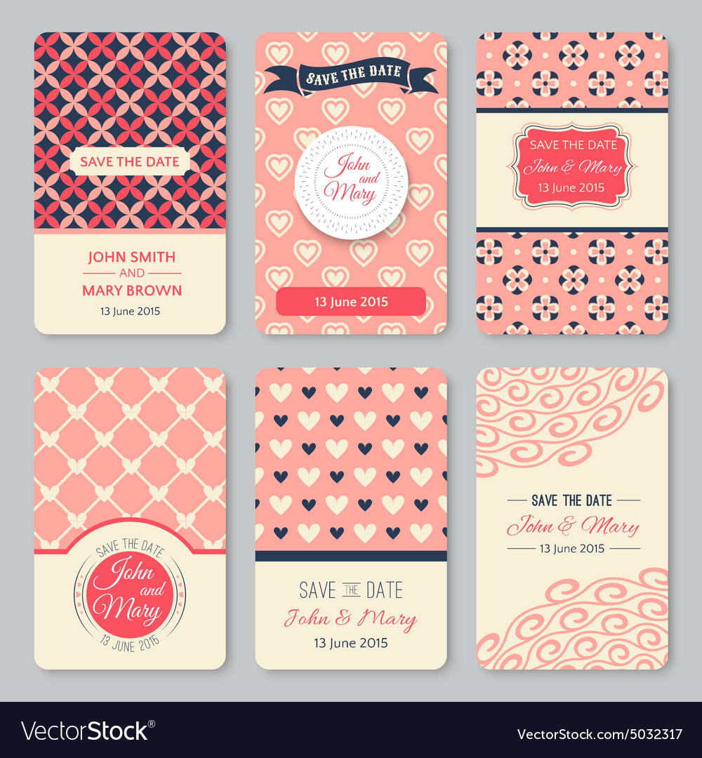 Set of perfect wedding templates with pattern
