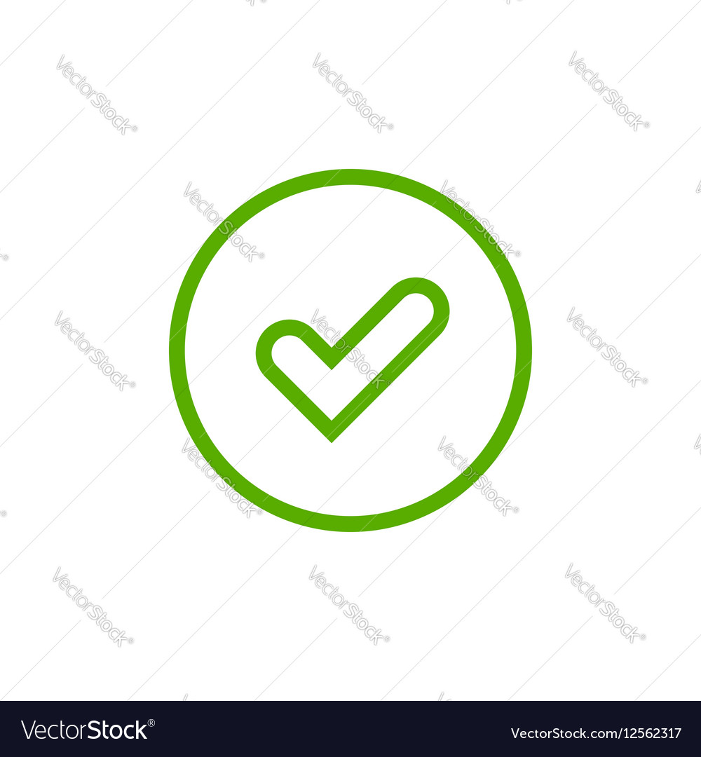 Tick green sign element vector image