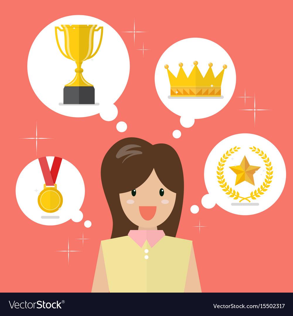 Woman think about achievements