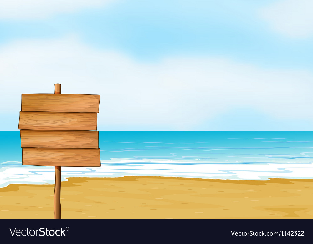A blank wooden signboard vector image